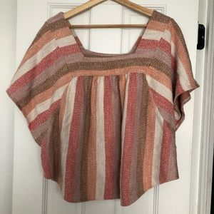 Madewell Knit Rainbow Stripe Butterfly Top Size XL